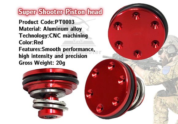 Super Shooter - Aluminum Bearing Piston Head (Red) for AEG - PT0003