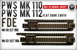 "Madbull- PWS Licensed MK112 RAS Unit 12"" Rail for M4/M16 AEG - FDE"