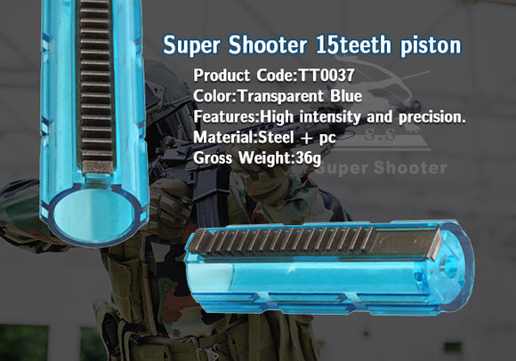 Super Shooter - 15 Steel Teeth Piston (Clear Blue) - TT0037