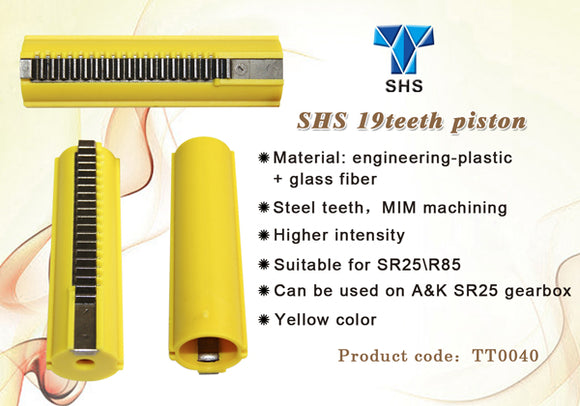 SHS - Full Teeth (19 Steel Teeth) Piston for A&K SR25/R85 - TT0040