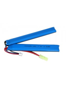 Airsoft Lipo Battery - 1300mah 2S (7.4V) 25C - Double-Cell