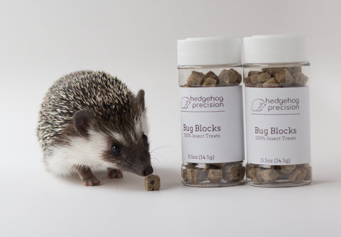 Hedgehog next to two bottles of Bug Blocks treats