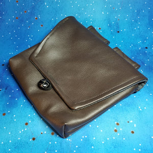 Brown Faux Leather Belt Pouch