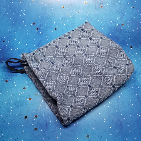 Large Drawstring Pouch - Blue Diamonds