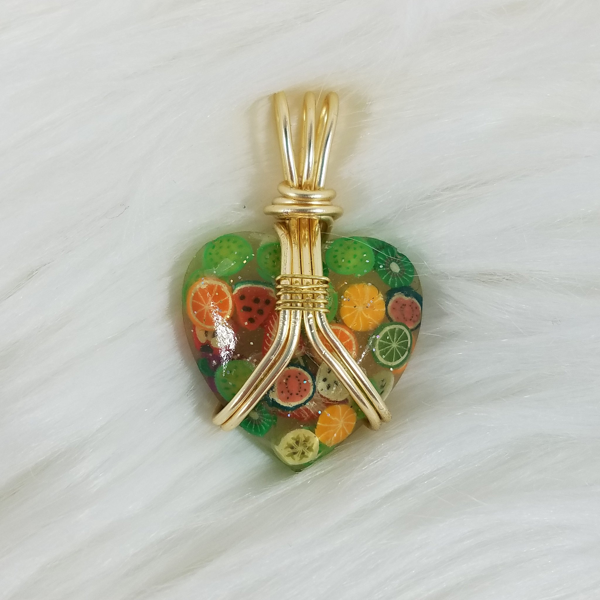Fruit Heart Wire-wrapped Pendant