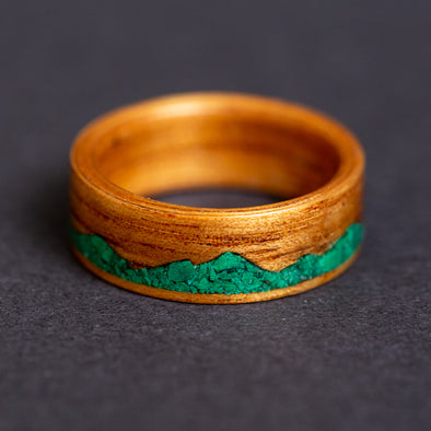 (In Stock) Koa & Malachite Mountain Size 6, 4mm