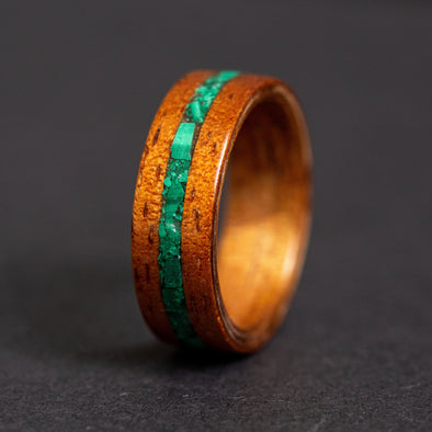 Hawaiian Koa Wood Ring with Malachite Inlay