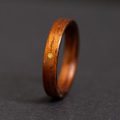 Hawaiian Koa Wood Ring brass sun inlay