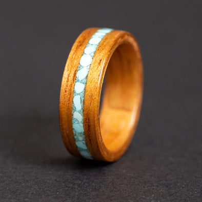 Hawaiian Koa wood turquoise inlay