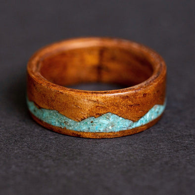 Koa Wood Ring Anniversary Ring, Turquoise Mountain Range Wood Ring