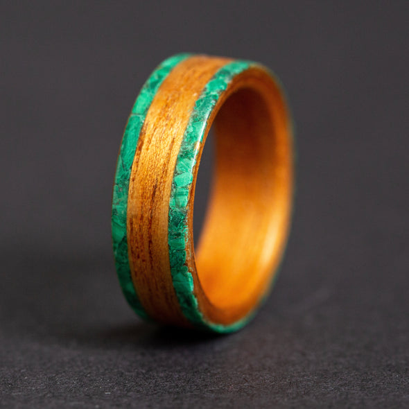 Hawaiian Koa Wood Ring with Double Malachite Inlay