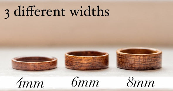 Two Toned Koa Wood and Maple Wood Ring