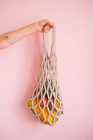 A rope bag filled with snacks