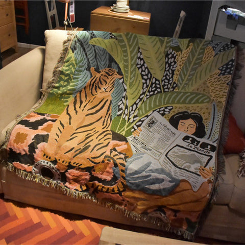 Nature Tiger Throw Multifunction Blanket