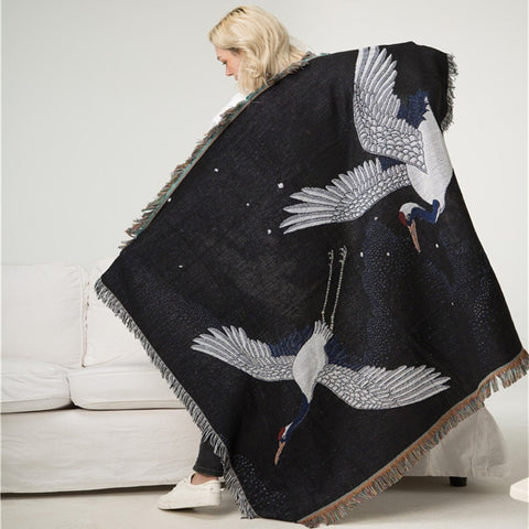 Crane Japanese Retro Blanket Tapestry Sofa Covers