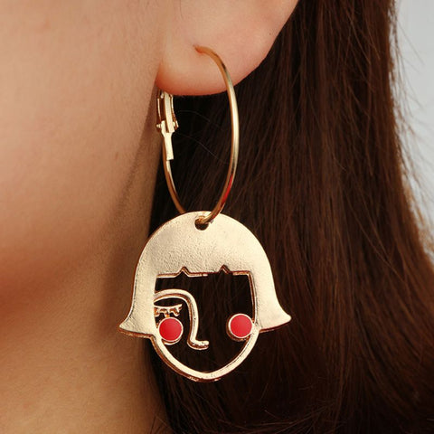 Cute Abstract Hollow Face Earring