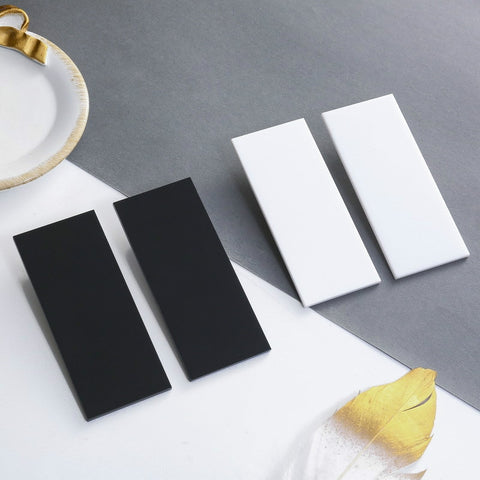 Exaggerated Rectangle Mirror Surface Earring