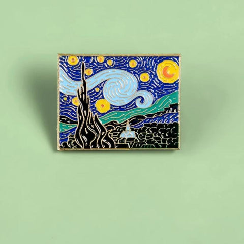 The Starry Night Enamel Pins Van Gogh Oil Painting Art Metal
