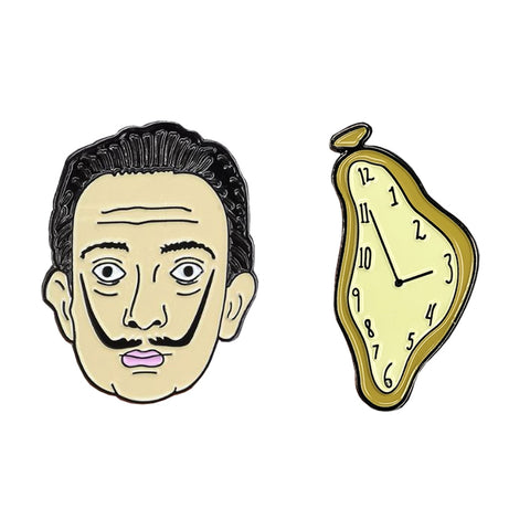 Salvador Dali and Melted Clock Enamel Pin