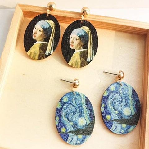 Wooden Classic Art Renaissance Paintings Earring