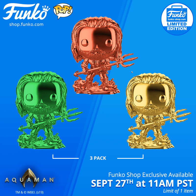 Funko Shop Exclusive Item: Pop! Heroes: Aquaman-Chrome Arthur Curry in Hero Suit 3-Pack!
