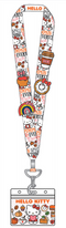 Loungefly Hello Kitty Pumpkin Spice Lanyard With Four Enamel Pins - ShopPopONLINE
