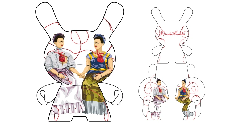"Kidrobot 8"" Frida Kahlo Masterpiece Dunny- The Two Fridas - ShopPopONLINE"