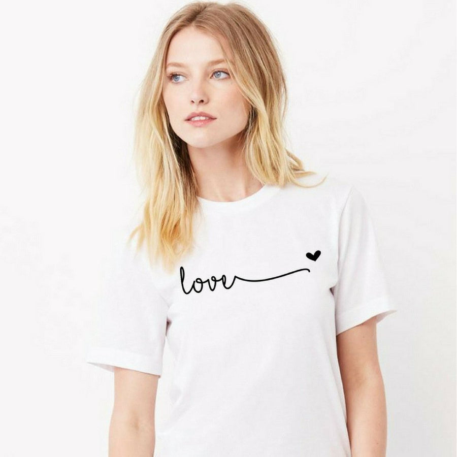 Love Heart Print Boyfriend Tee