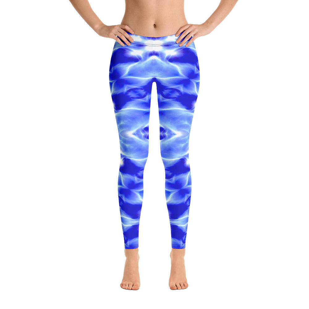 Women's Leggings. vivid beautiful bright blue DNA design. Water and Light Beams. underwater photography. Mermaid Spirit