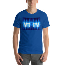 "Load image into Gallery viewer, Our popular and striking ""Higher Council"" design on a classic, mens true royal blue t-shirt."