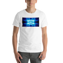 "Load image into Gallery viewer, Our vivid ""Time Machine"" design on a classic, mens white t-shirt."