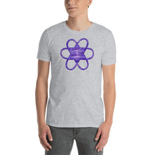 "Load image into Gallery viewer, Living Light Designs Men's T shirt printed with a unique and vivid ""I"""" design. Star Tetrahedron spins in 3D at the center of all creation. available in many colors"
