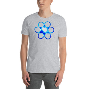 "Living Light Designs Men's T shirt printed with a unique and vivid ""I"""" design. Star Tetrahedron and water light heartspins in 3D at the center of all creation. available in many colors"