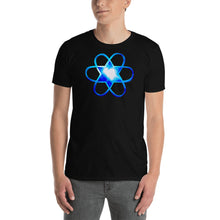 "Load image into Gallery viewer, Living Light Designs Men's T shirt printed with a unique and vivid ""I"""" design. Star Tetrahedron and water light heartspins in 3D at the center of all creation. available in many colors"