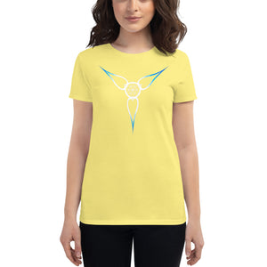 "Living Light Designs Logo printed on a women's T shirt with a unique and vivid ""Flower Light"" design. Star Tetrahedron spins in 3D at the center of all creation. available in many colors"