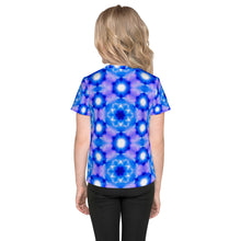 Load image into Gallery viewer, Living Light Designs presents 'Starseed' Design on a unique all over printed Kids T Shirt