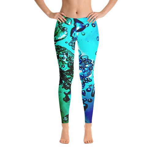 Women's Leggings. vivid beautiful bright blue and aqua green design. Water and Light Beams. bubbles. underwater photography. Mermaid Spirit