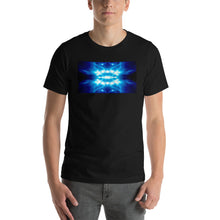 "Load image into Gallery viewer, Our vivid ""Time Machine"" design on a classic, mens black t-shirt."