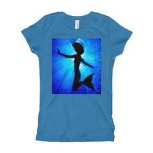 Load image into Gallery viewer, Powerful mermaid design on classic girls teal T shirt