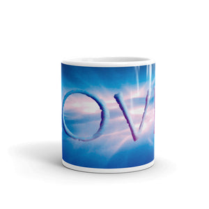 "Ceramic coffee mug printed with our vivid water and light design, ""Love"""
