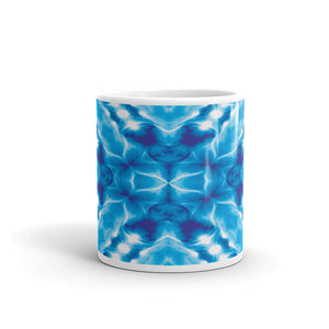 Ceramic coffee mug printed with abstract DNA design vivid design.