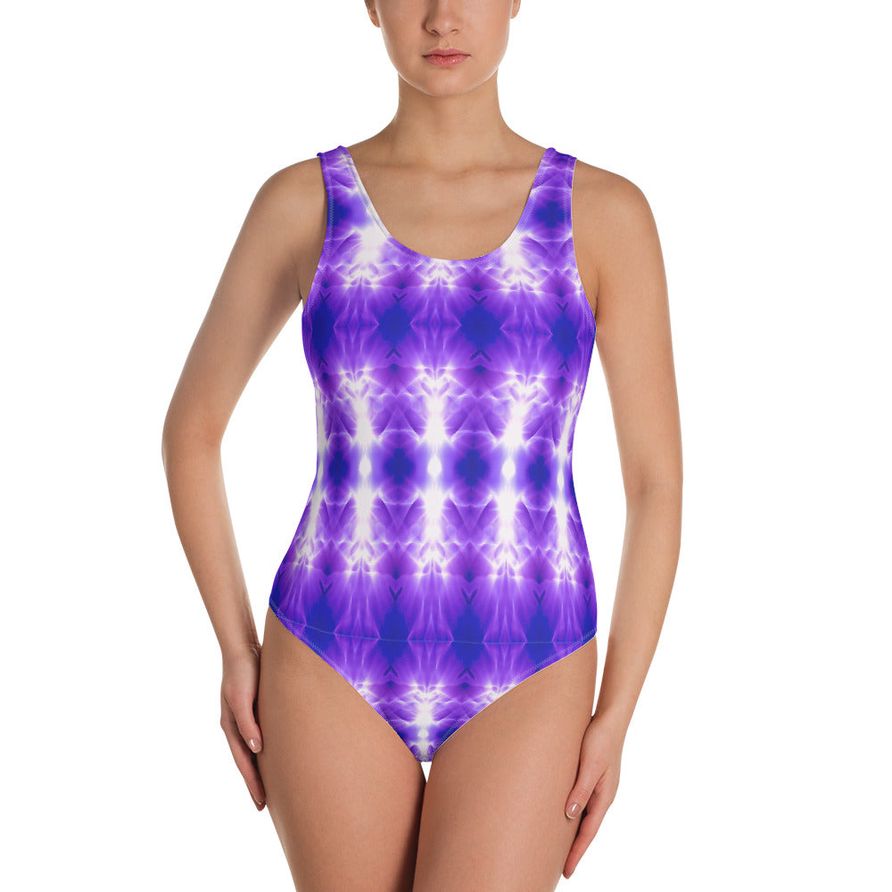 Women's one-piece swimsuit. vivid beautiful bright purple pattern design. Water and Light Beams. underwater photography. Mermaid Spirit