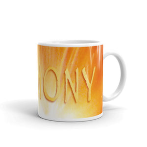 "eramic coffee mug printed with our vivid water and light design, ""Harmony"""