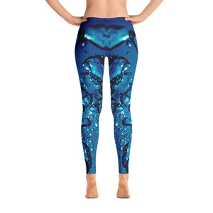 Women's Leggings. vivid beautiful aqua green blue bubbles design. Water and Light Beams. underwater photography. Mermaid Spirit