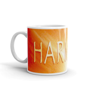 "Ceramic coffee mug printed with our vivid water and light design, ""Harmony"""
