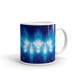 "Ceramic coffee mug printed with our distinctive and exclusive vivid ""higher council"" design."