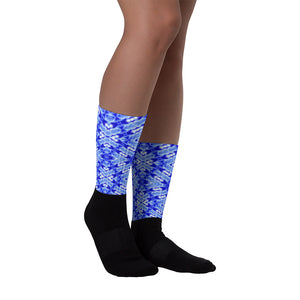 Bright blue sock in a unique DNA design from Living Light Designs