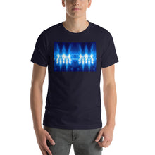 "Load image into Gallery viewer, Our popular and striking ""Higher Council"" design on a classic, mens navy blue t-shirt."