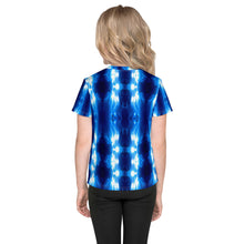 "Load image into Gallery viewer, id's T shirt printed with a unique and vivid ""The Gate"" all over print design. Beautiful underwater photography. Blue and Black"