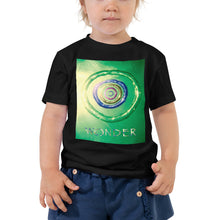Load image into Gallery viewer, Our Wonder card design in a quality black toddler t shirt